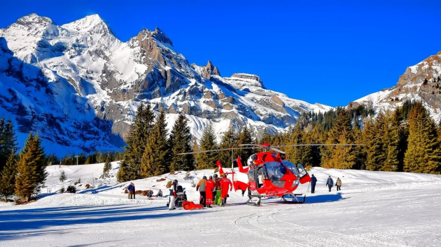 Mountains Switzerland Snow Alps Nature helicopter wallpaper