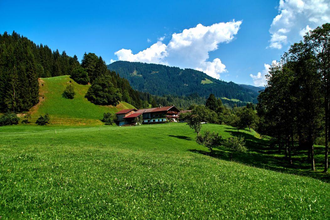 Germany Scenery Houses Mountains Grasslands Sky Trees Obernau Nature wallpaper
