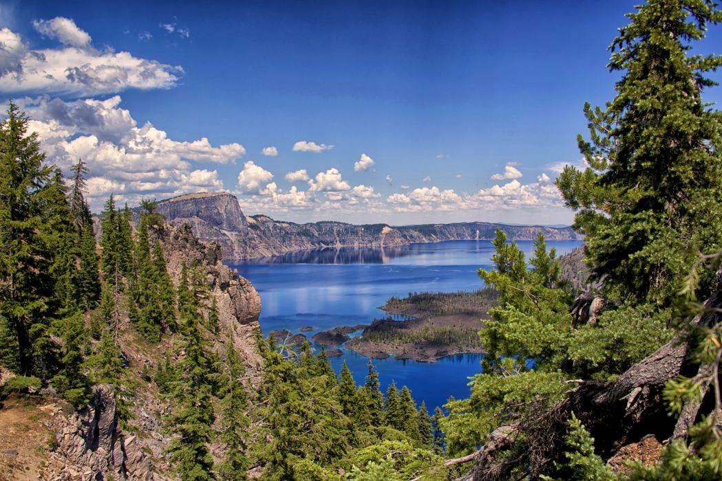 USA Parks Lake Mountains Sky Scenery Fir Clouds Crater Lake National Park Nature wallpaper