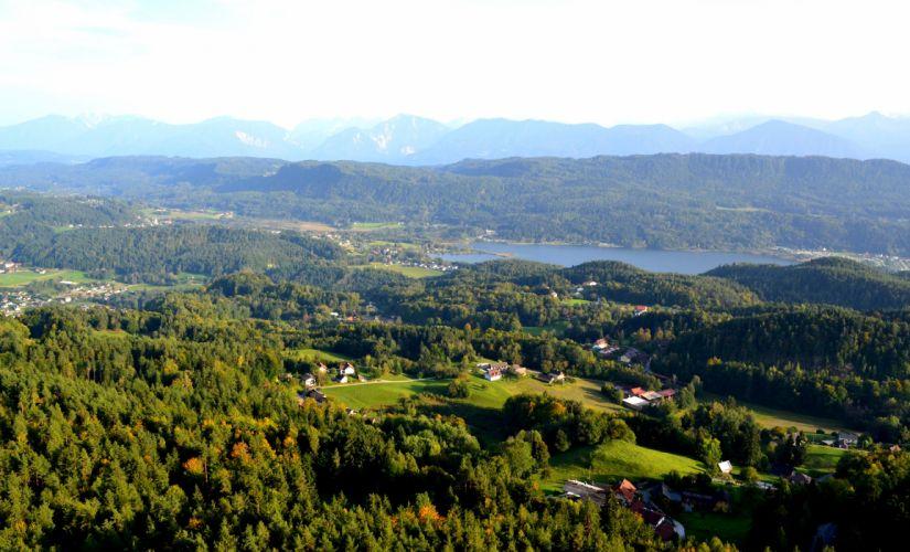 Slovenia Scenery Lake Houses Trees Nature wallpaper