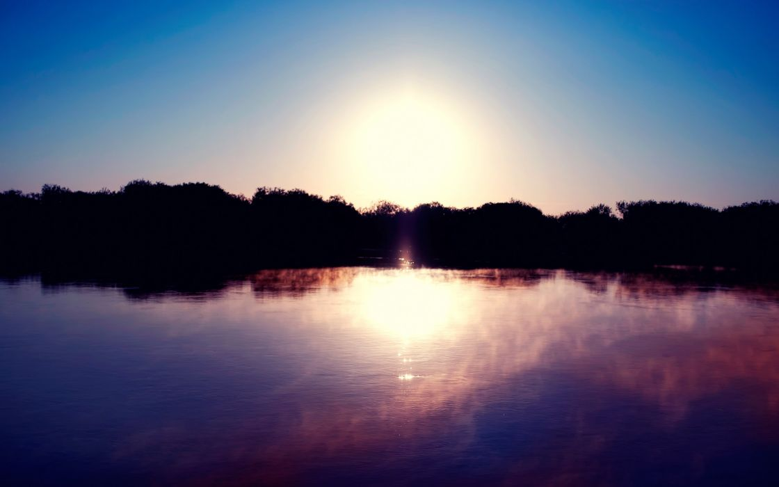 lake surface shore silhouette sun fog dawn wallpaper