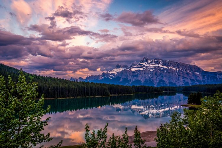 mountain lake reflection sunset wallpaper