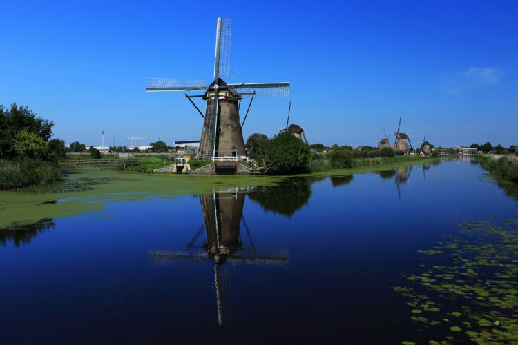 sky canal water windmill wallpaper