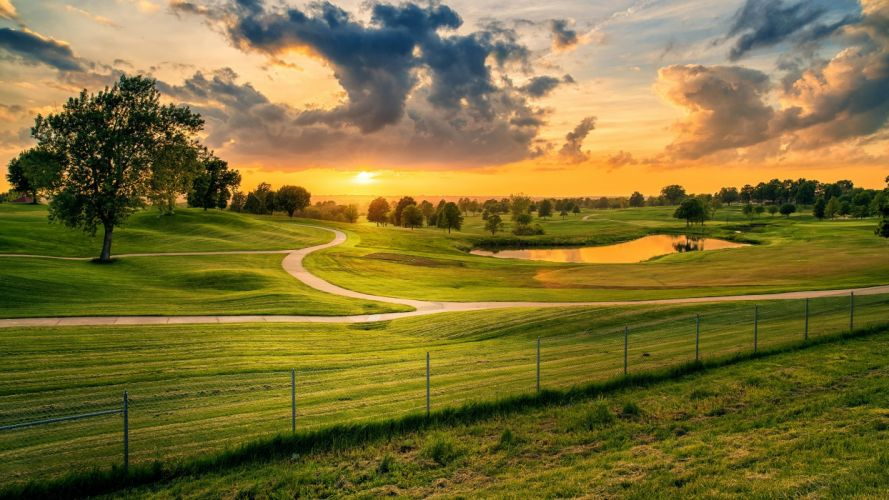 field meadow road grass herbs trees fence pond sky clouds sunset wallpaper