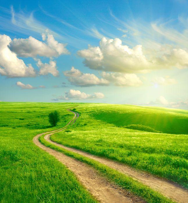 field grass road sky clouds landscape wallpaper