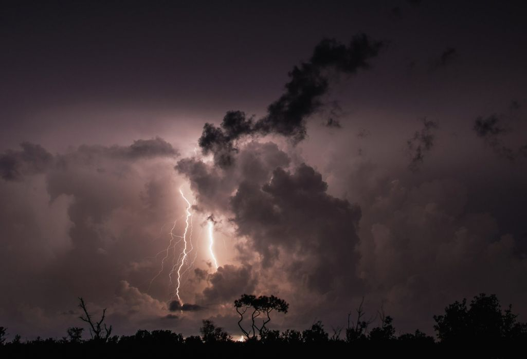 night clouds clouds thunder lightning trees wallpaper