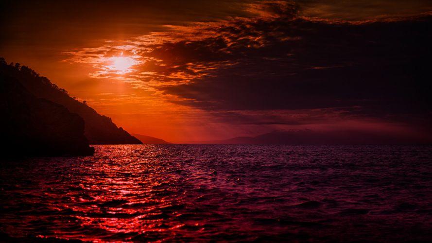 sky clouds sunset mountain sea wallpaper