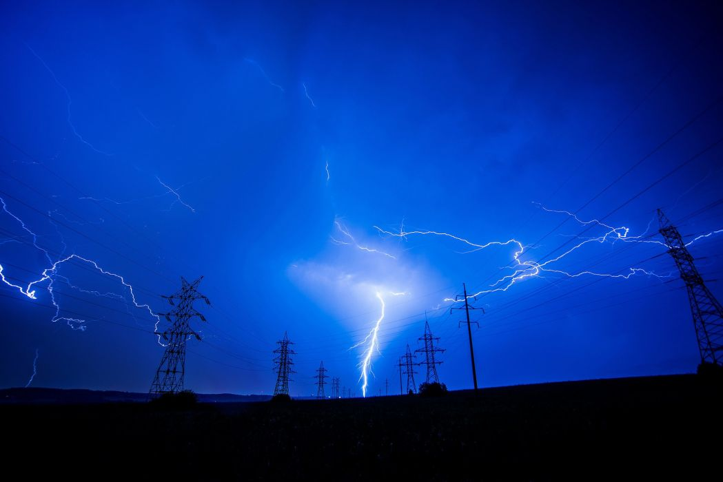 sky lightning nature silhouette poles voltage wallpaper