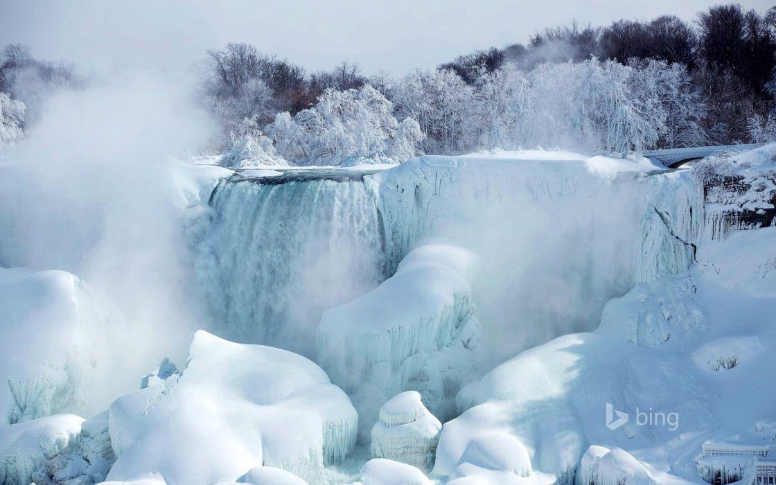 American Falls river Niagara Ontario Canada snow ice trees wallpaper