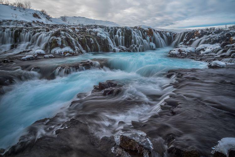 waterfall stream rocks stones clouds wallpaper