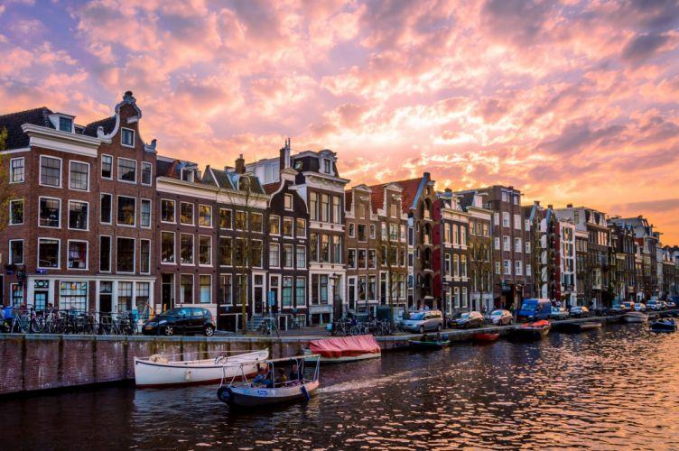 msterdam Netherlands Houses Rivers Bridges Marinas Night Cities wallpaper
