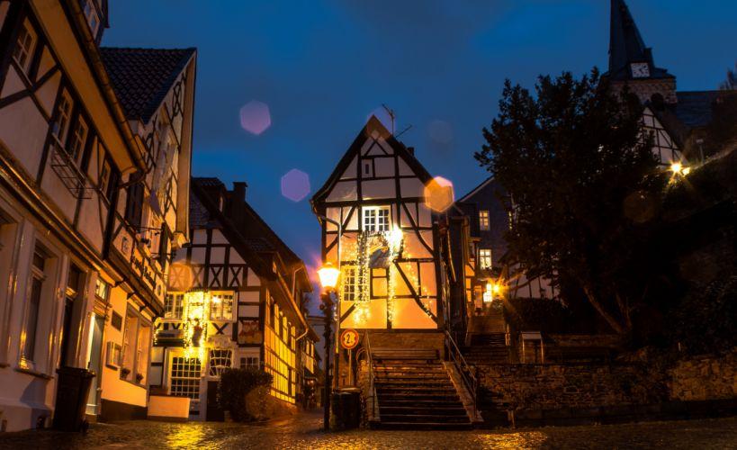 ermany Houses Night Street lights Street Chemnitz Cities wallpaper