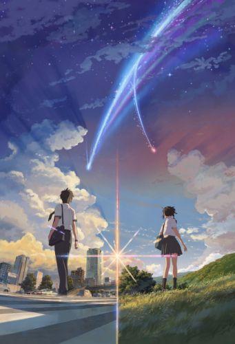 kimi no na wa anime series couple sky wallpaper