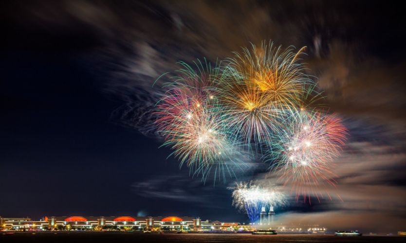 beautiful city color colorfull explosions fireworks light New Year Night sky sky night wallpaper