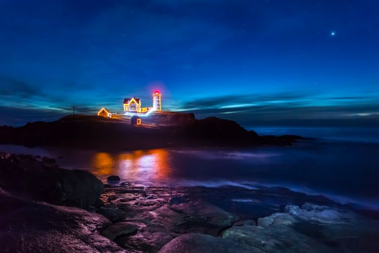 blue sky Christmas light lighthouse mirror Night power lines reflection rocks sea sky stars wallpaper