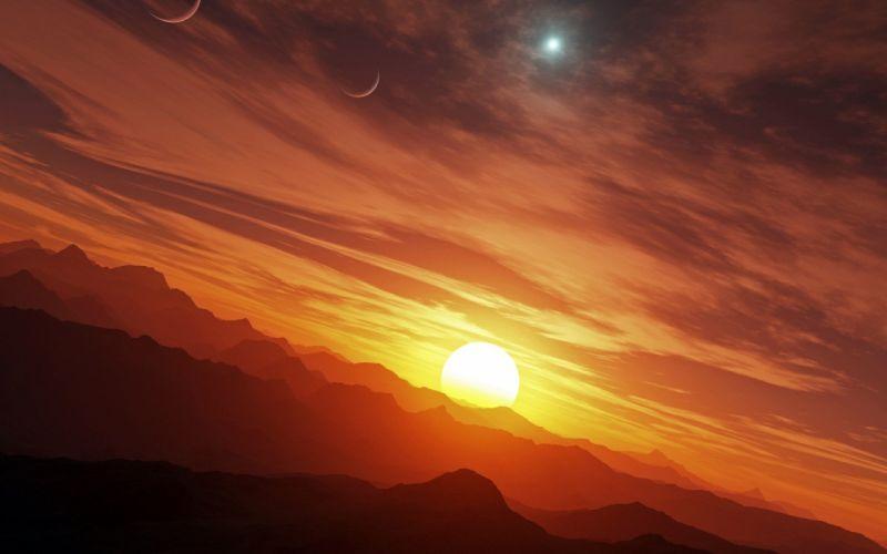 begin landscape mountain mountains orange planet planets red star stars Start sun sunrise sunset wallpaper