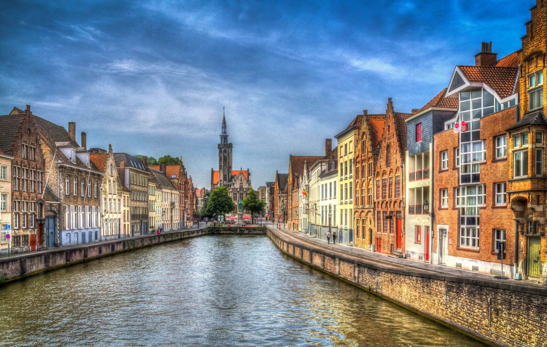 elgium Houses Canal Street HDR Bruges Cities wallpaper