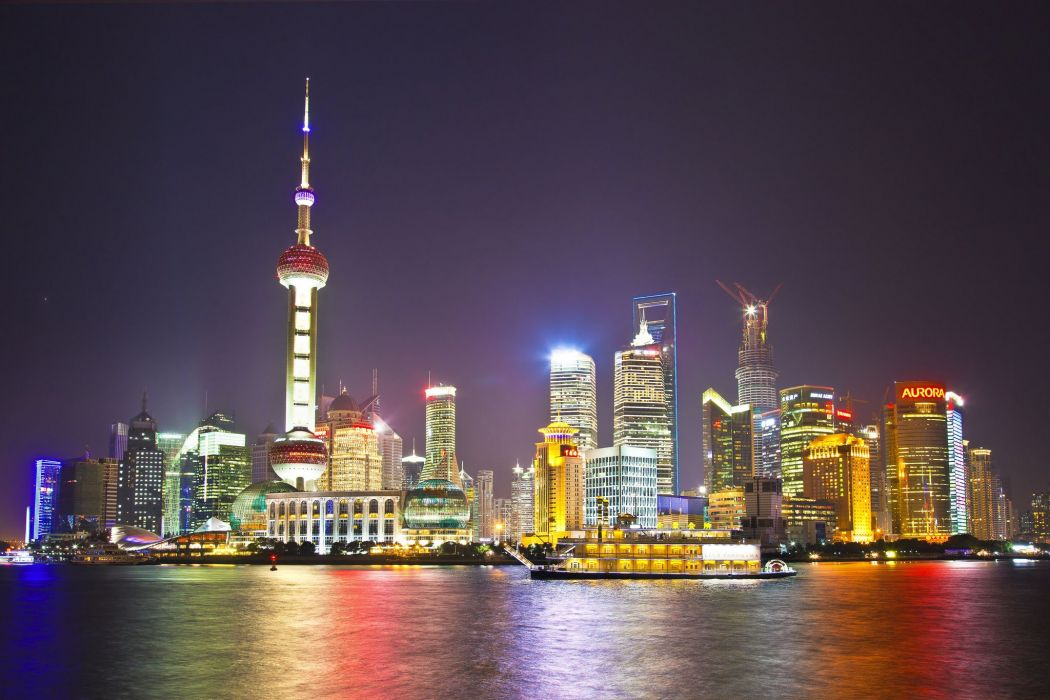 hina Shanghai Houses Skyscrapers Night Cities k wallpaper