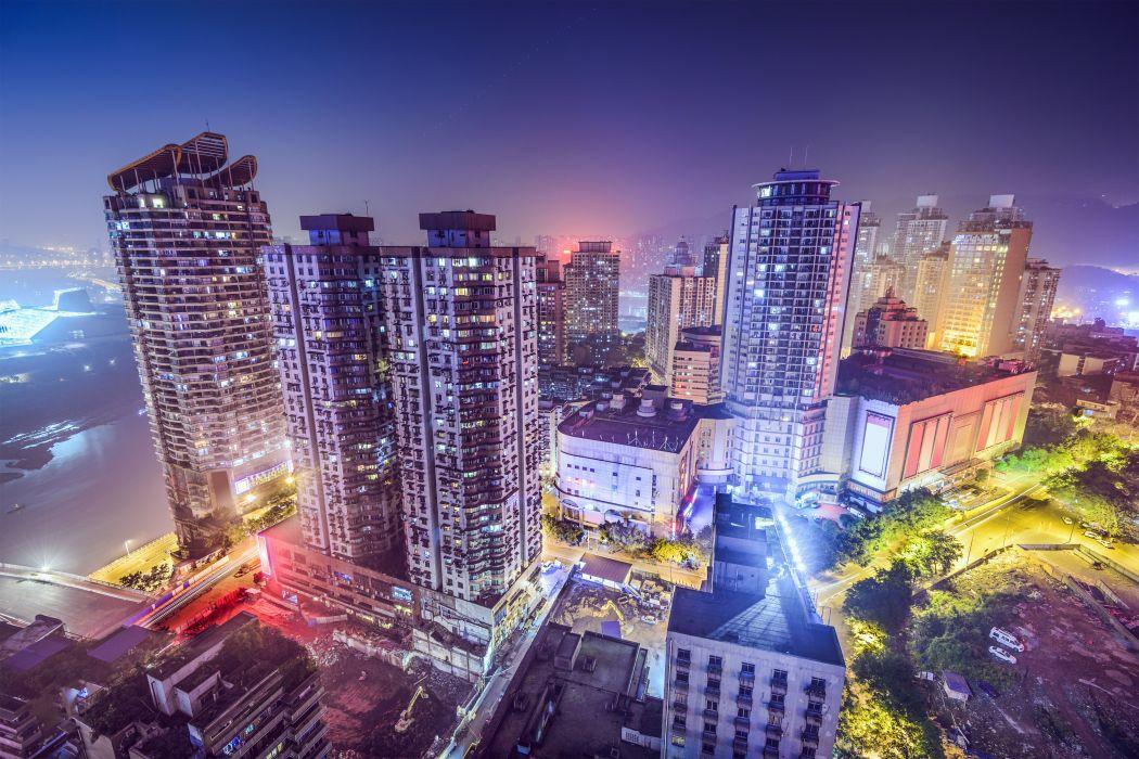 hina Shanghai Houses Skyscrapers Night Cities k wallpaper