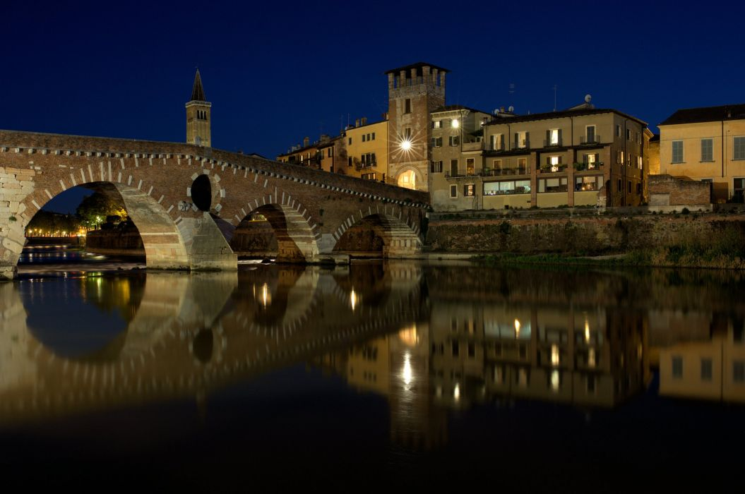 taly Houses Rivers Night Verona Cities wallpaper