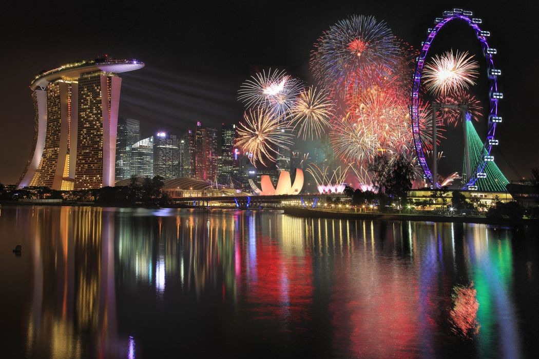ingapore Fireworks Night Cities wallpaper