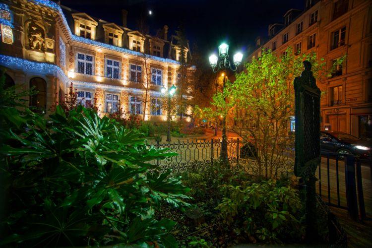 rance Houses Paris Fence Night Street lights Cities wallpaper