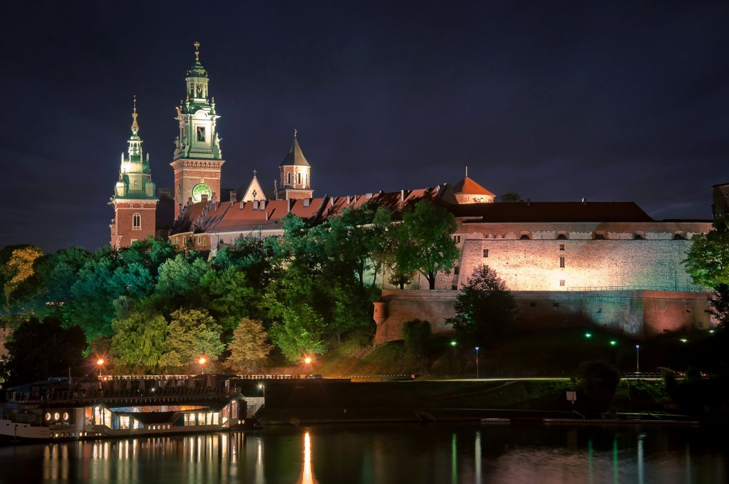 oland Castles Rivers Night Street lights Wawel Castle Krakow Cities wallpaper