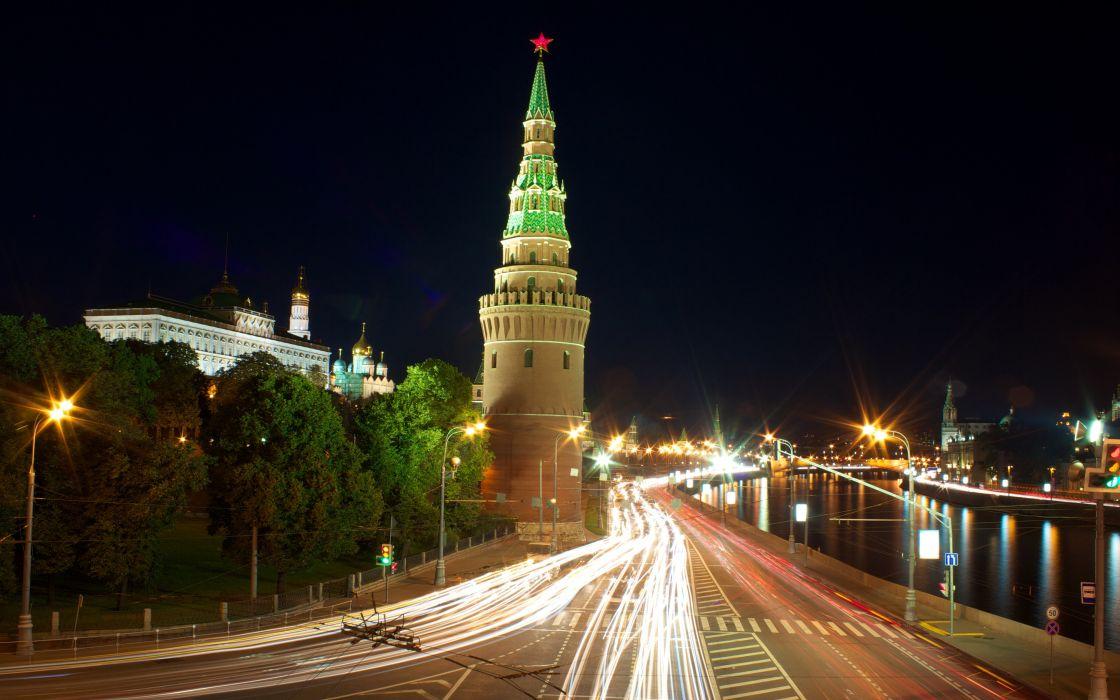 oscow Russia Roads Night Street lights Cities wallpaper