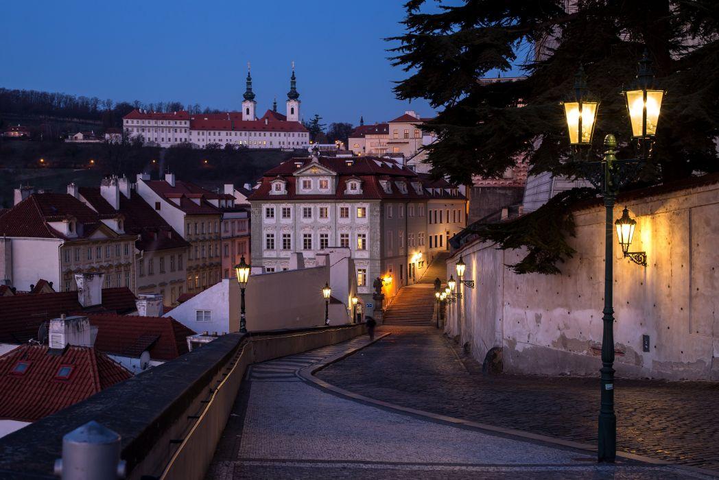 rague Czech Republic Houses Bridges Sculptures Sky Nove Mesto Cities wallpaper