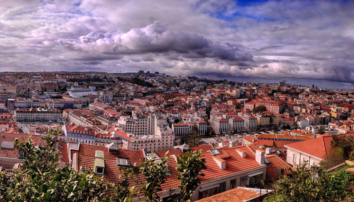 ortugal Houses Megapolis Clouds Lisbon Cities wallpaper