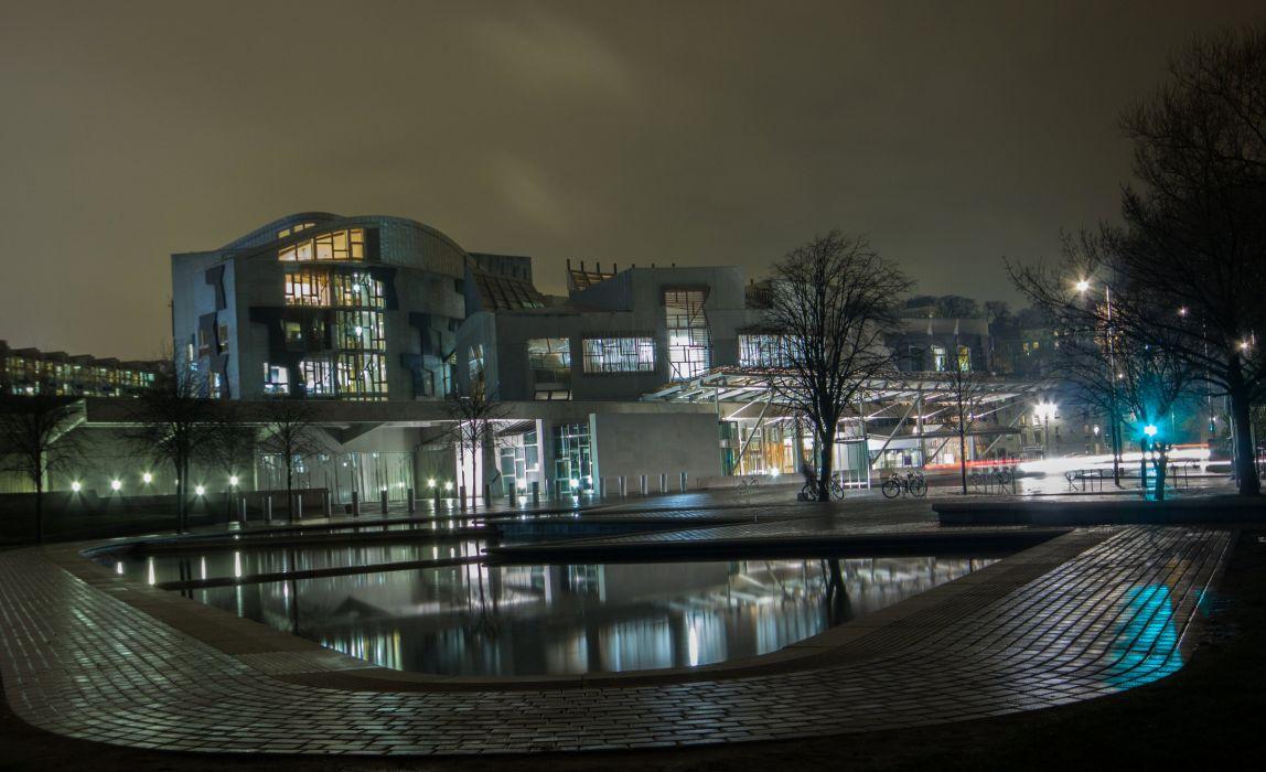 cotland Houses Pond Night Scottish Parliament Edinburgh Cities wallpaper