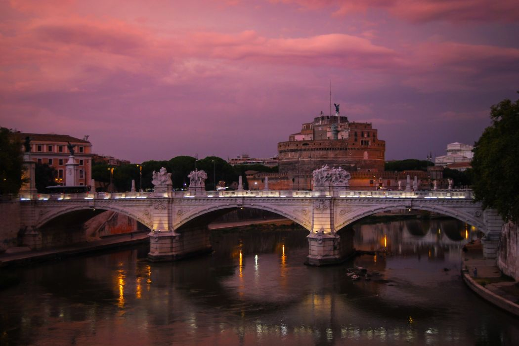 ome Italy Rivers Bridges Fortress Night Cities wallpaper