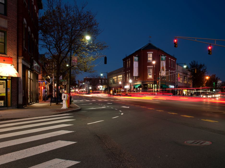 Houses Street Night Cambridge Massachusetts Cities wallpaper
