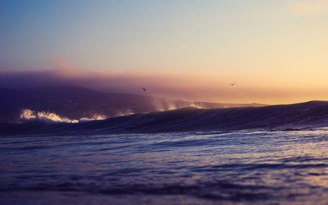 sunset sea horizon clouds orange sky wallpaper