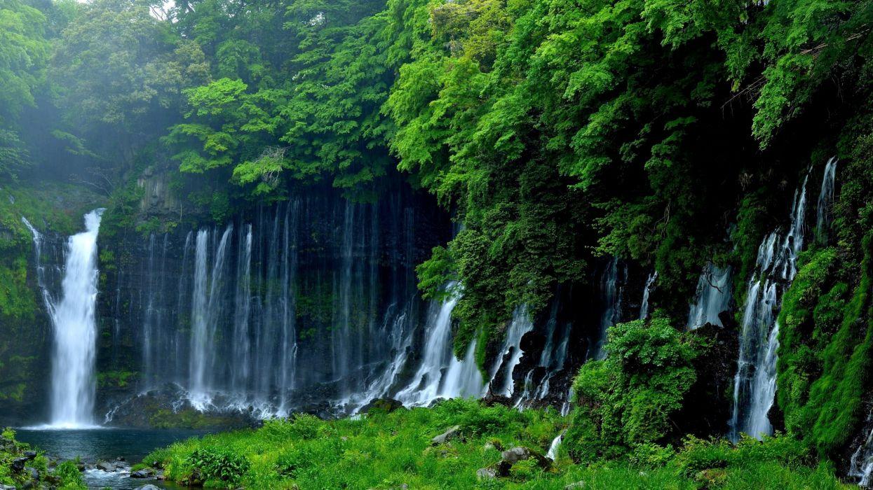 aterfalls stream water nature rainbow wallpaper
