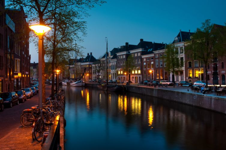 etherlands Groningen Houses Night Canal wallpaper