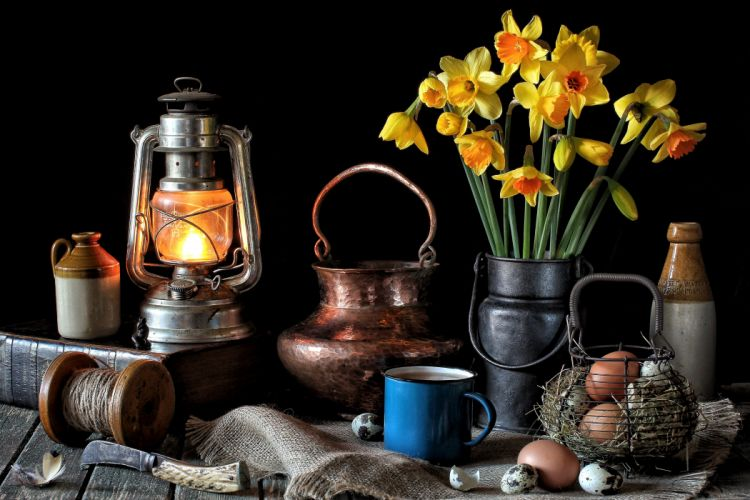 till-life Daffodils Apples Easter Vase Book Eggs Colored background Flowers wallpaper