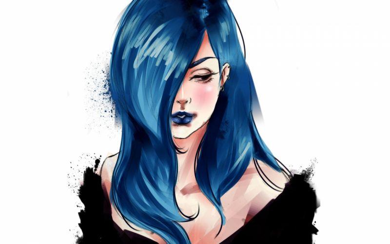 anime blue hair demi lovato drawing girl hd illustration music wallpaper