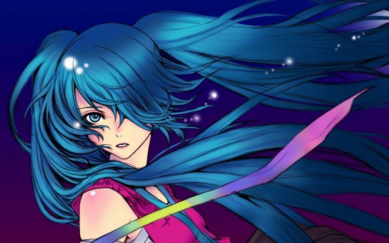 art background blue hair desktop girl manga anime wallpaper