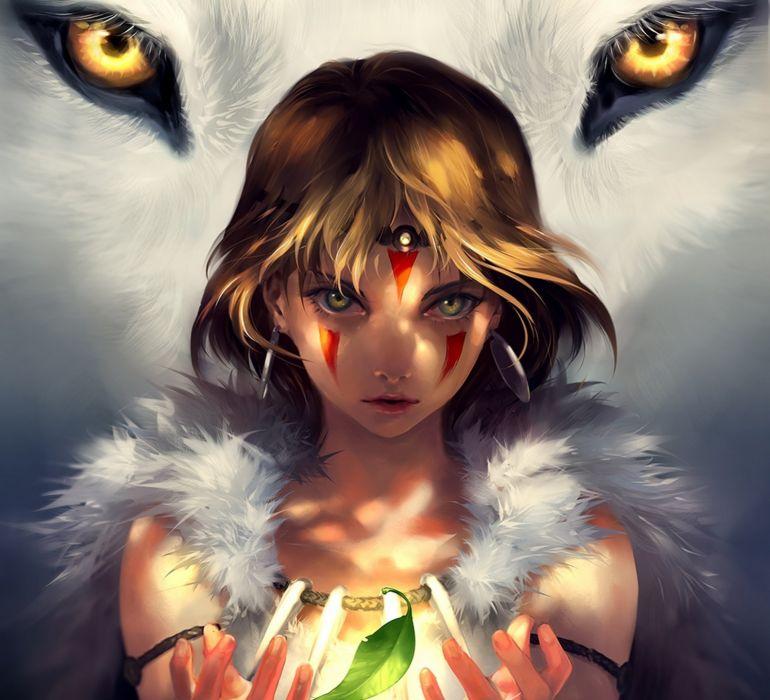 anime art eyes forest girl leaf light look magic Mononoke Hime moro no kimi san wolf yuumei wallpaper