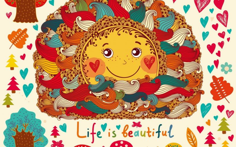 beautiful colorful drawing life lovely smiling sun words wallpaper
