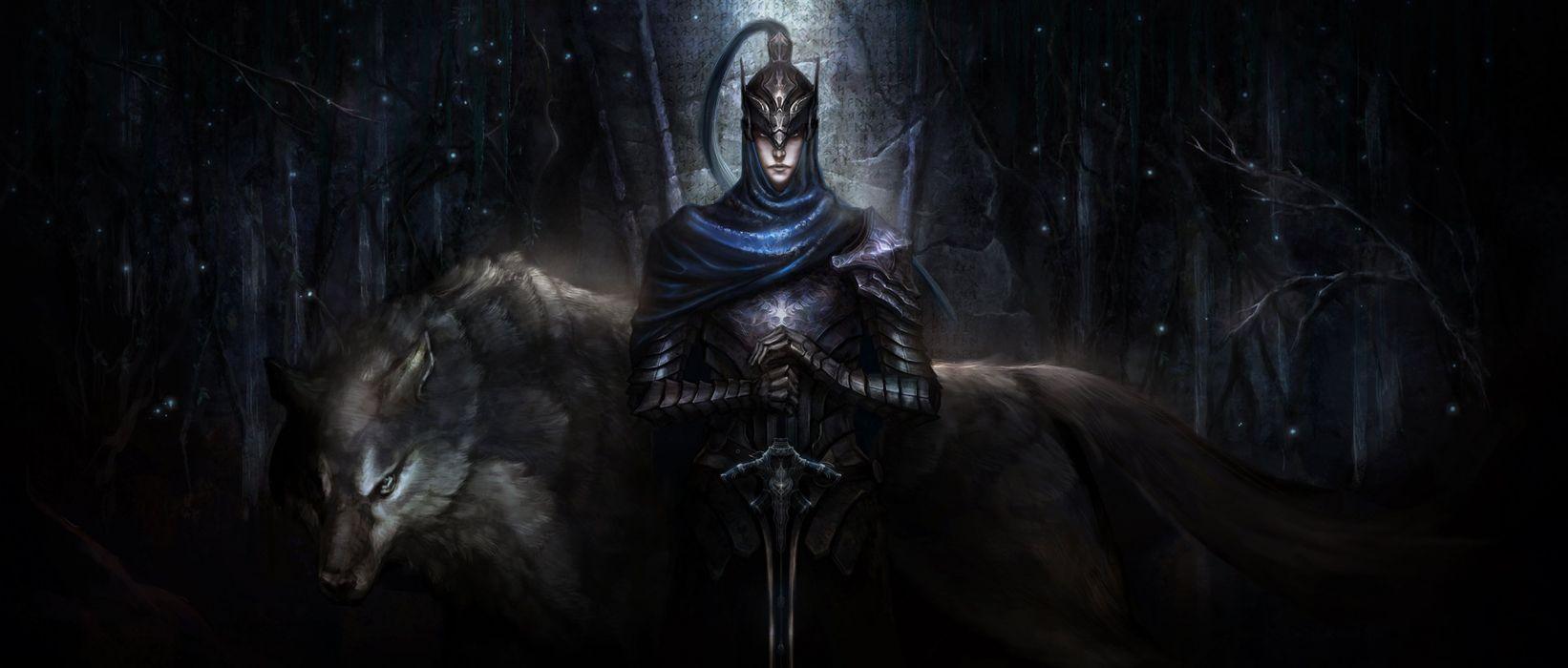night-Artorias-with-wolf-standing-in-the-dark armor art artorias boss Artorias of the Abyss dark dark souls game helmet Knight Artorias sword warrior wolf wallpaper