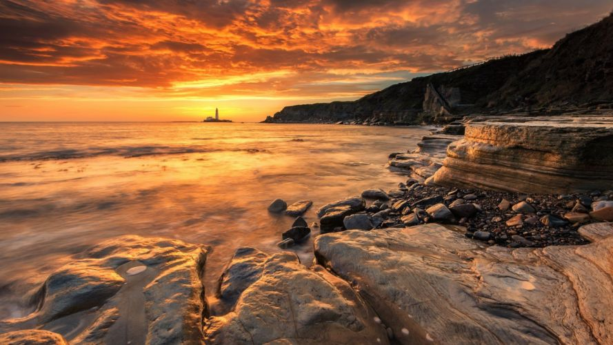 nature beauty landscape lighthouse rocks sea sunset view wallpaper