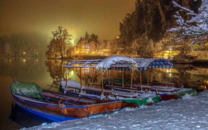 nature beach Bled boats cool houses ice lake landscape lights Night season Slovenia snow trees water winter wallpaper