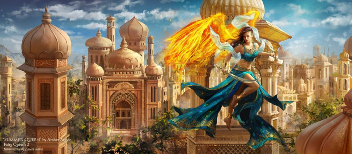 queen fantasy sword girl woman dress fire city beauty wallpaper