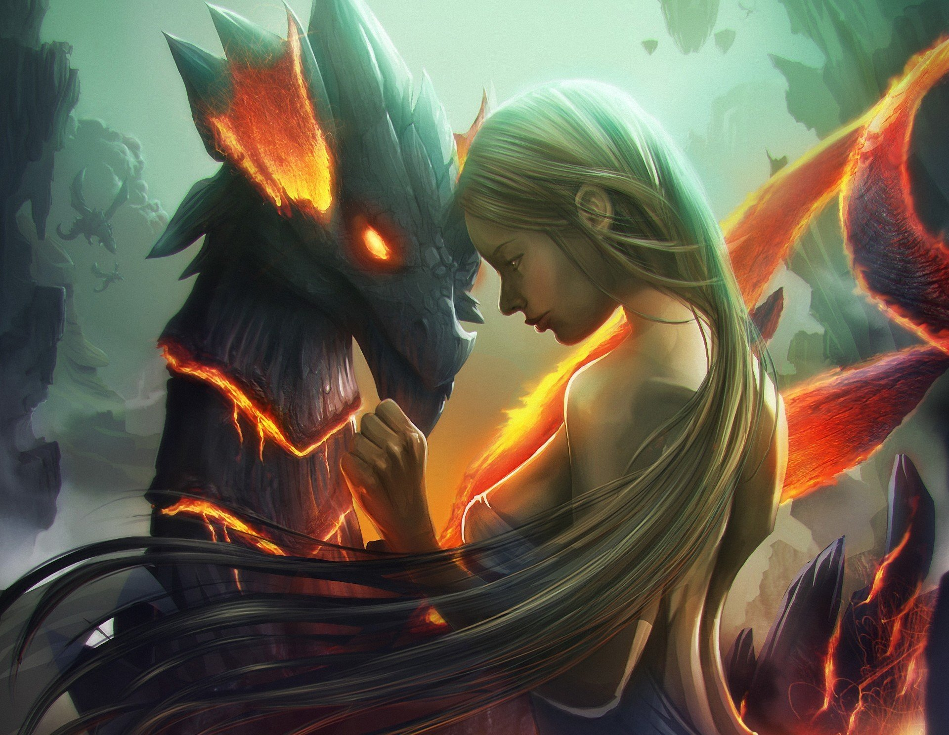 art artwork blond hair blonde dragon fantasy fire girl hair lava long long hair mountains rock