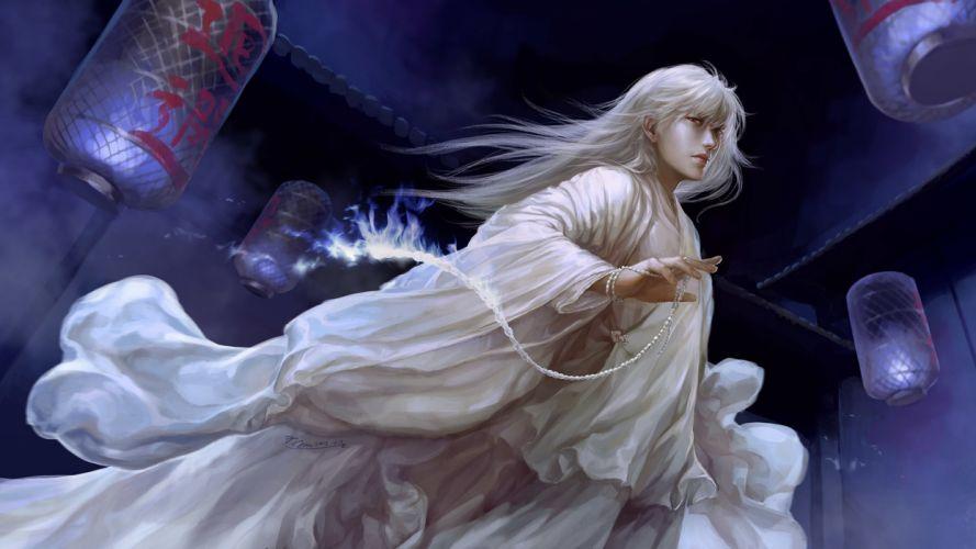 art beads dtjun fire flame historical costume lantern lights male manga Night white hair wallpaper