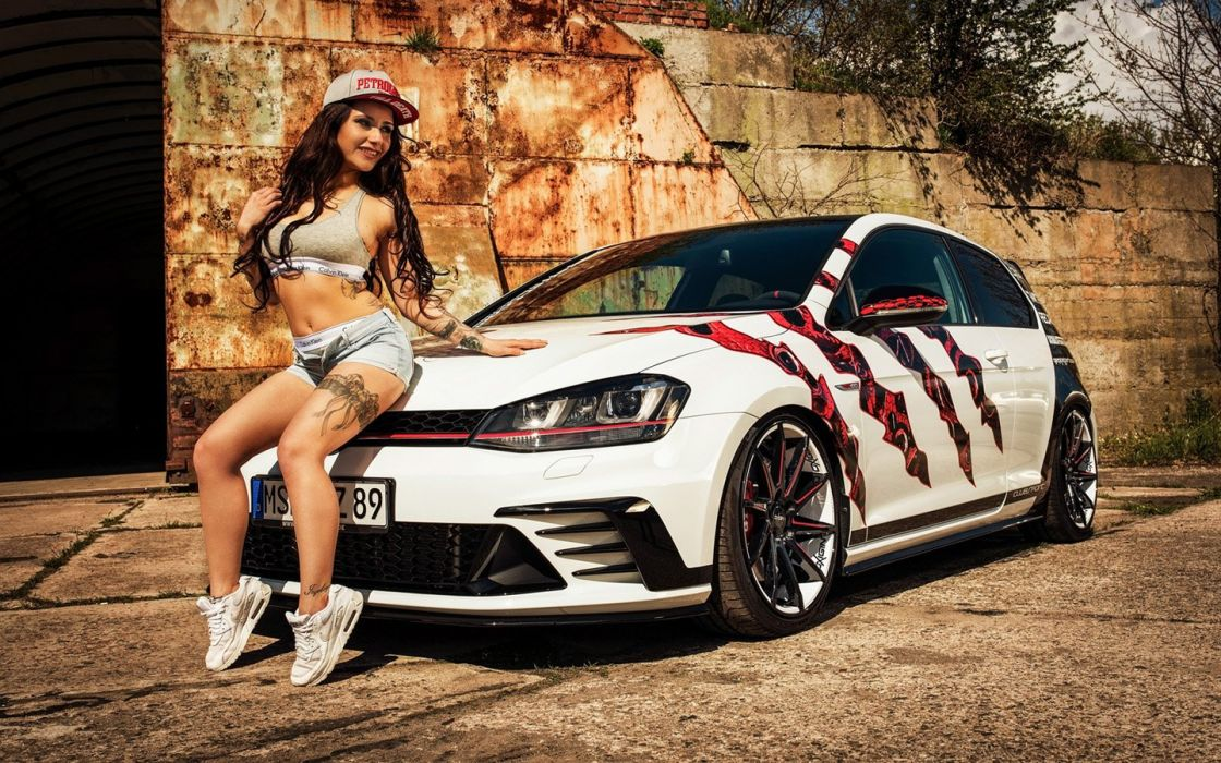 Oxigin Volkswagen Golf-7 GTI Clubsport cars girl model modified wallpaper
