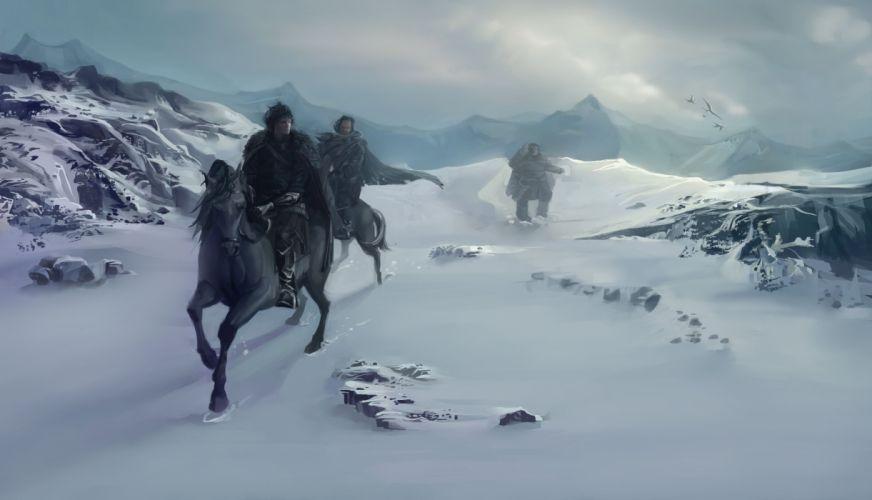 black horse cold evening fantasy horse ice men moonrise mountain mountains nature Night painting ridding sky snow winter wonderland wallpaper
