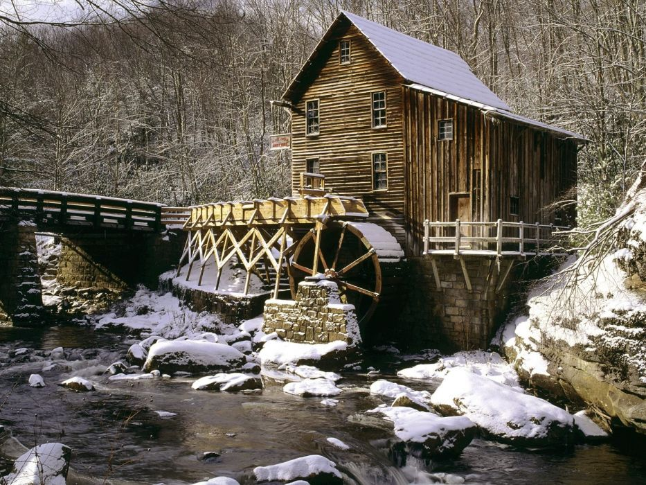 glade creek grist mill winter babcock state park west virginia normal wallpaper